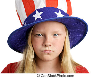 American Girl Angry - A pretty little girl in an American...