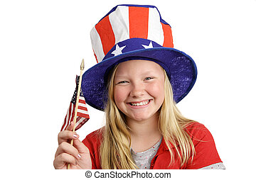 Patriotic Girl - A pretty little girl in a patriotic hat...