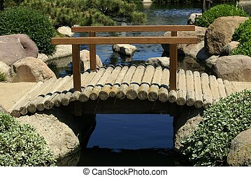 Garden Bridge - Footbridge in Japanese Garden in Van Nuys,...