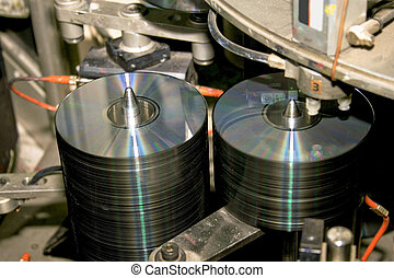 CD rack - Inside CD and DVD disc production factory