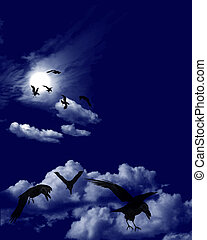 Crows Flock in a Moonlit Skyscape - A flock of ravens -...