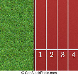 Running track from a bird\\\'s perspective showing the first...