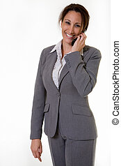 Career woman - Attractive brunette Hispanic smiling business...