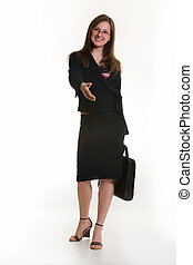 Business greeting - Attractive Business woman offering her...
