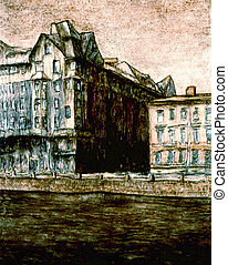 Fontanka2 - water-colour: Old building on the Fontanka river...