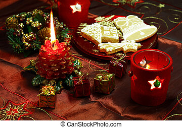 Christmas still life in red tone with gingerbread