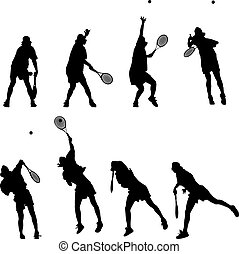 Tennis - Silhouetted tennis service in motion