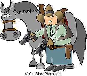 Cowboy And His Horse - This illustration depicts a cowboy...