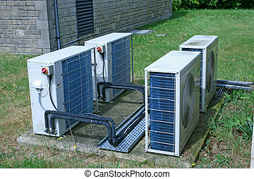 Air conditioning units at a utlity site