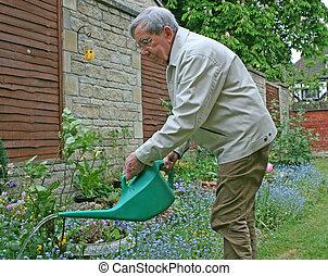 jubilado, jardinero
