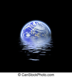 earth submerged - The earth floating in a pool of water -...