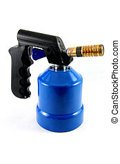 blue blowtorch - used blowtorch gaslight with blue gas tank...