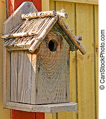 Nesting box - A nesting box on a fence post