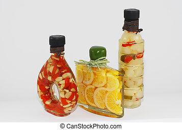 Gourmet oil bottles - 3 gourmet olive oil bottles with...