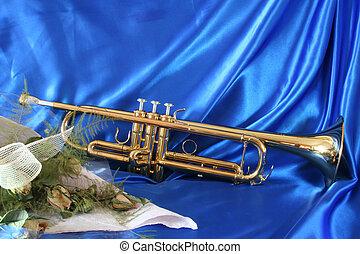 Ouro, trompete, antigas, rosas
