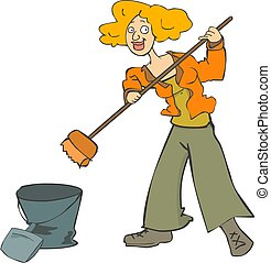 Girl cleaning her house restaurant with a broom and dustpan...