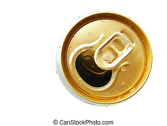 metal can - Close-up of metallic beer or soda can on white...