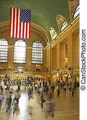 Commuters in blurred motion at Grand Central terminal
