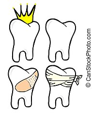 Teeth Set - Teeth in 4 situations: with a bandaid and...