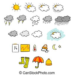 Weather Icons Set - suns , clouds , moon , and more...