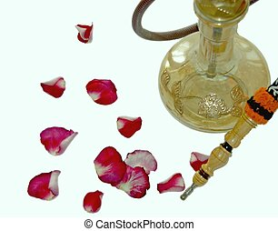 hookah and rose petals - waterpipe with rose petals