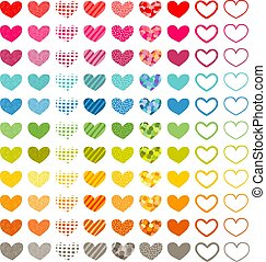 Hearts Set - Set of hearts in different fillings and colors...