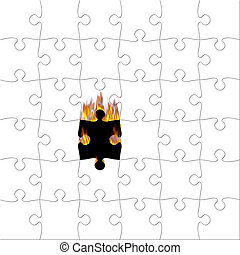 Puzzle with piece on fire