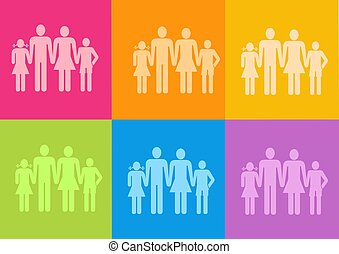 family icon - 3d family icon - computer generation clipart
