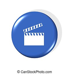 film clip icon - 3d gold film clip icon - computer generated
