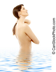 topless brunette in water looking up #2 - picture of lovely...