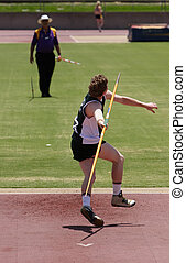 Javelin Thrower - An athlete throwing a javelin in a...