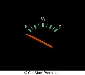 gas gauge - Gas guage on empty on an black background