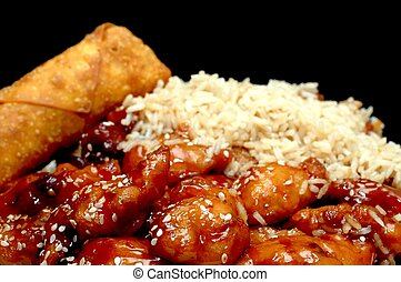 Chinese Food - Chinese food. Sesame chicken with fried rice...