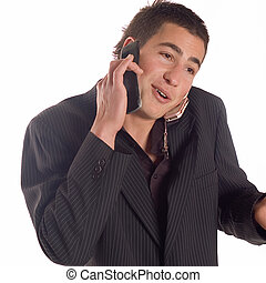 Businessman making a call - Young business man using his...