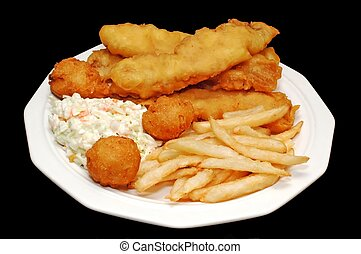 Fish and Chips - Plate of fried fish, hush puppies, french...