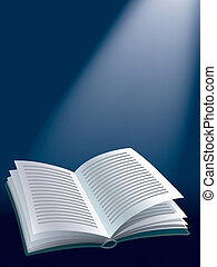 Open book - Illustration of open book on dark blue...