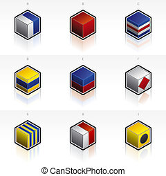 International Maritime Signal Flags Icons Set - Design Elements 58g, it\\\'s a high resolution image with CLIPPING PATH for easy remove unwanted shadows underneath.
