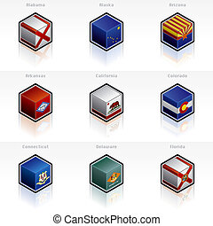 United States Flags Icons Set - Design Elements 58a, its a...