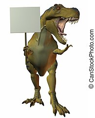 T-Rex with Sign - 3D Render