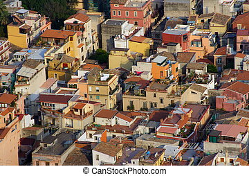 colored roofs of a sicilian village