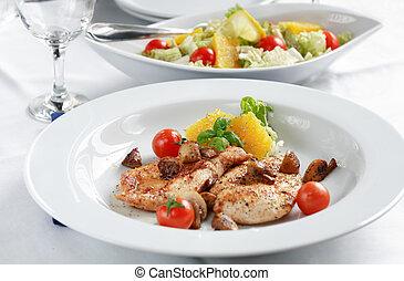 Chicken steak with salad