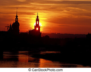 red shining sundown - beautiful view of the silhouette of...