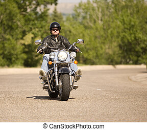 Biker - Man out for a relaxing ride on his motorcycle