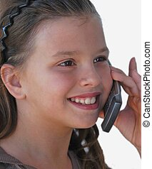just calling - young girl talking on cell phone