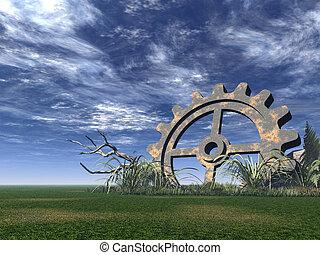 gear - rusty gear on a green field - 3d illustration