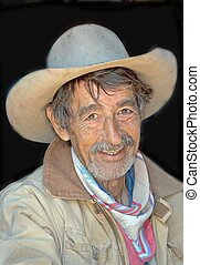 Howdy Cowboy - rugged looking cowboy with weathered face and...