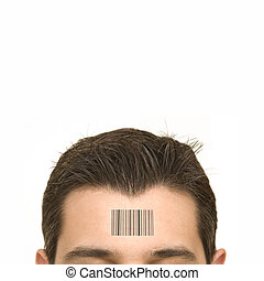 Human Standards - bar code on a mans forehead
