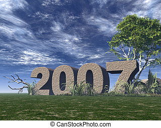 2007 rock on green field - 3d illustration