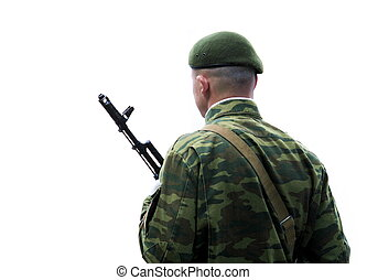 Guard of honour. Soldier with submachine gun.