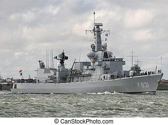 destroyer - dutch destroyer leaving the harbour of den...